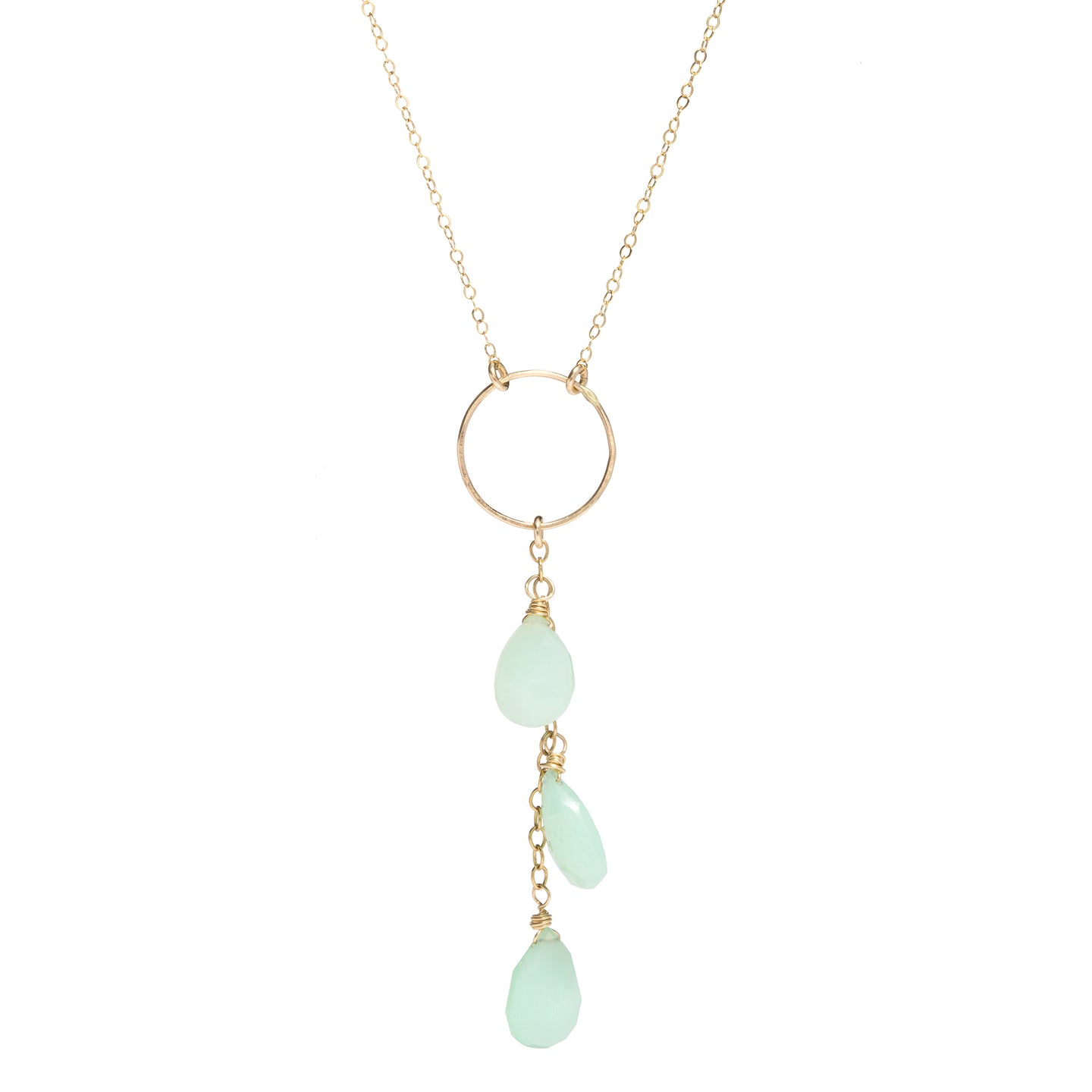 Triple Chrysoprase Drop Necklace