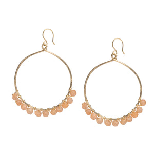 Pink Moonstone Hoop Earrings