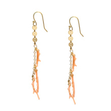 Load image into Gallery viewer, Pink Coral Branch Gold Earrings