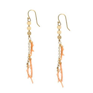 Pink Coral Branch Gold Earrings