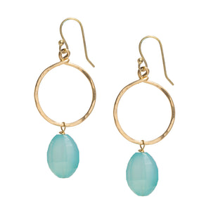 Seafoam Blue Chalcedony 14k Gold-filled Hoop Earrings