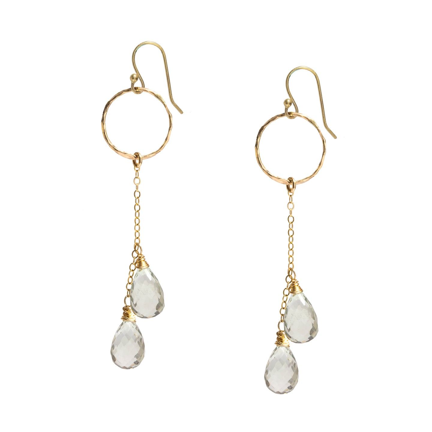 Green Amethyst Double Drop Earrings