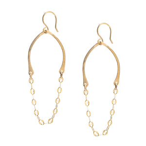 Draped chain mail gold earrings