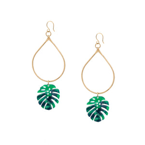 Tropical Greens Monstera Hoop Earrings