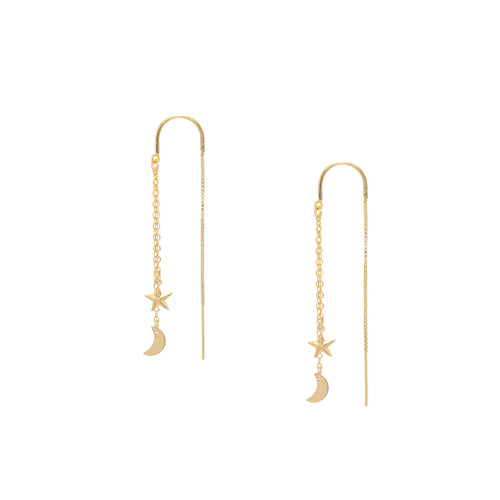 Moon and Star Celestial Threader Earrings