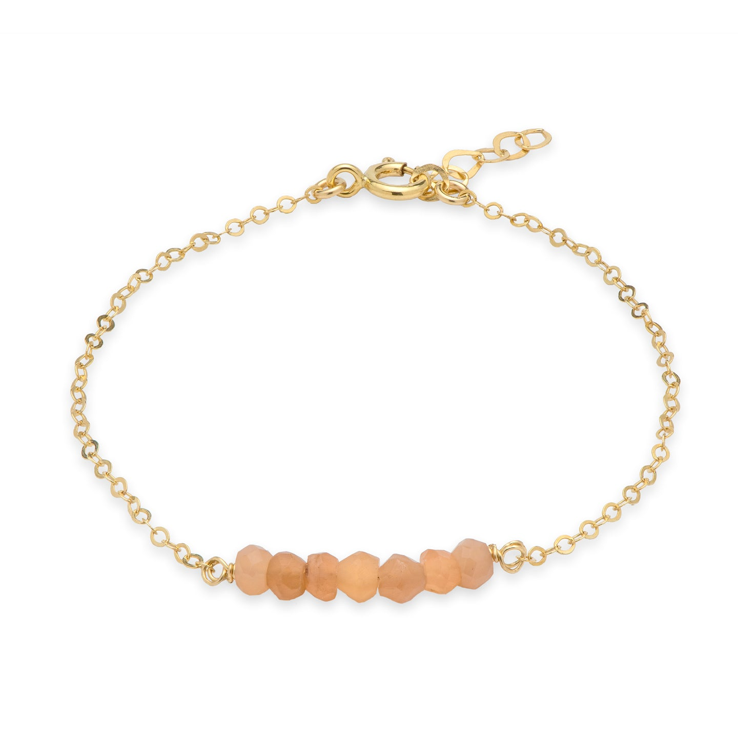Dainty Pink Moonstone Tennis 14k gold filled Bracelet