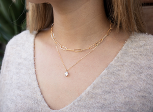 Cubic Zirconia 14k gold-filled necklace