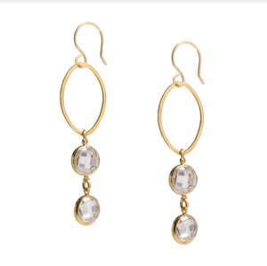 Bezeled Cubic Zirconia Earrings