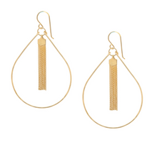 Load image into Gallery viewer, Tassel Teardrop Hoop Earrings