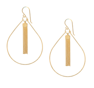 Tassel Teardrop Hoop Earrings
