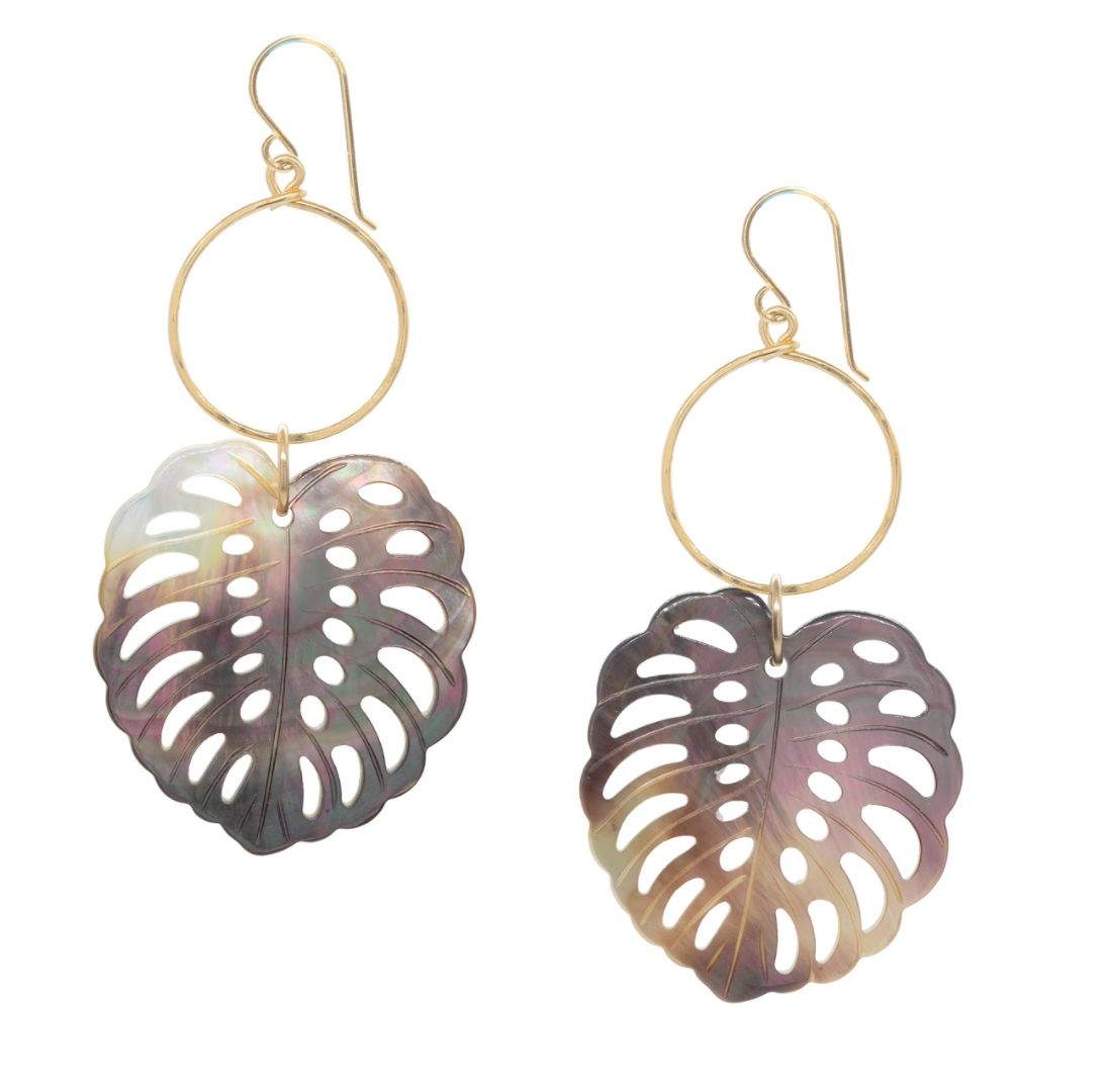 Mother-of-Pearl Monstera Earrings