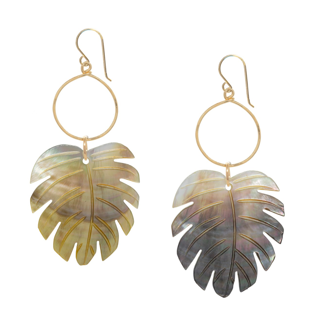 Mother of Pearl Palm Leaf Earrings
