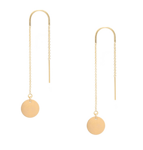Gold Disc Threader Earrings