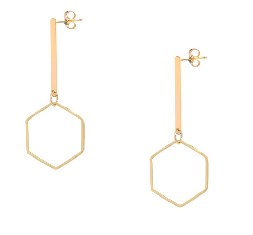 Hexagon Vertical Bar Earrings
