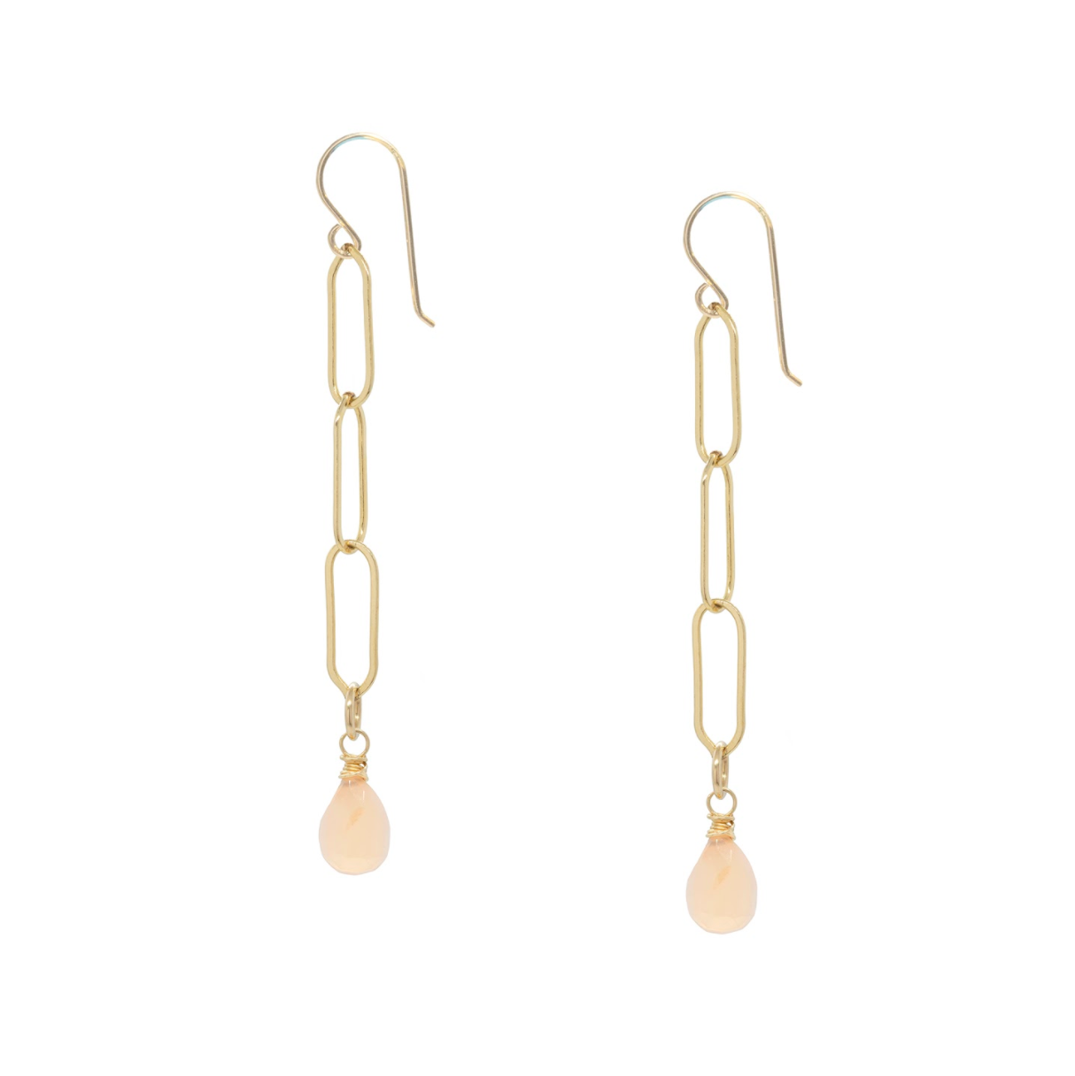 Pink Moonstone Gold Chain Earrings