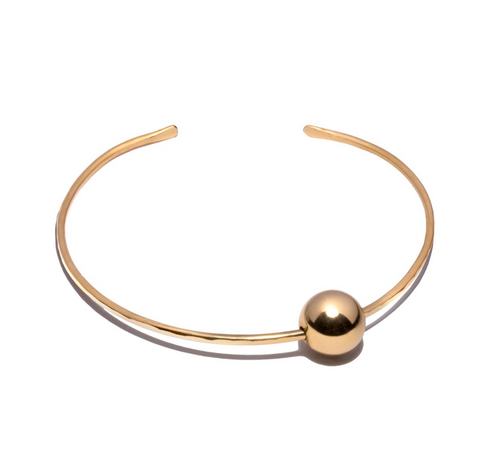 Floating Ball Gold Cuff Bangle