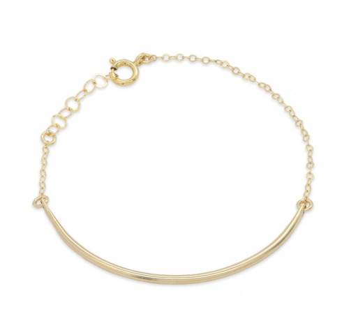 Organic Curved Bar Gold Bracelet