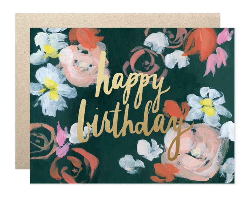 Coral Florals Happy Bday Card