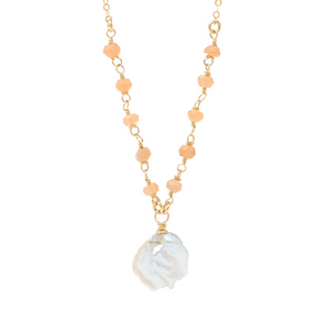 Pink Moonstone and Biwa Pearl Necklace