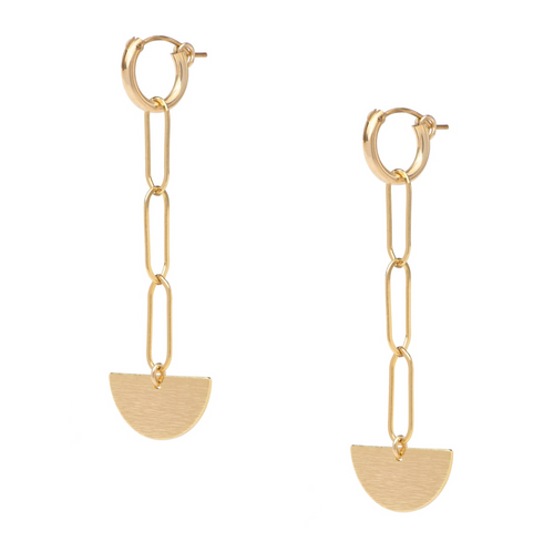 Semi Circle Chain Gold Huggie Earrings
