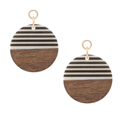 Wood and Stripes Circle Embellishment for Huggie Earrings