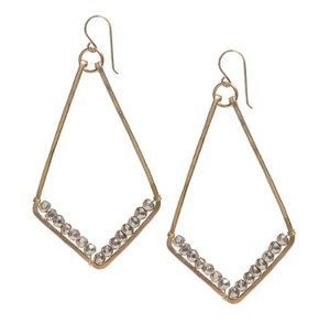 Diamond-shaped Pyrite-wrapped Gold Earrings