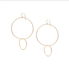 Load image into Gallery viewer, Reverse Double Hoop Gold Earrings