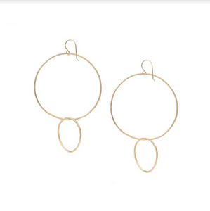 Reverse Double Hoop Gold Earrings