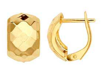 Load image into Gallery viewer, 14k Yellow Gold faceted Chunky Huggies