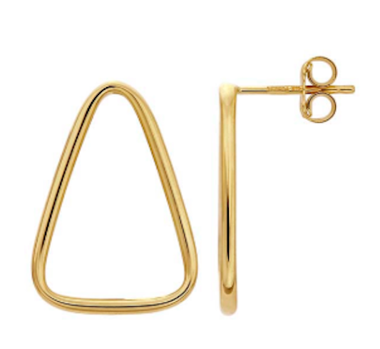 14k Solid Gold Triangle Post Earring