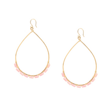 Load image into Gallery viewer, Pink Coral Wire-wrapped 14k gold-filled hoop earrings