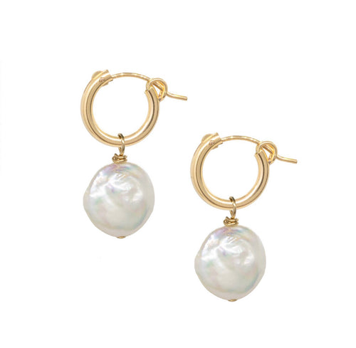 Diana Pearl Huggie Earrings