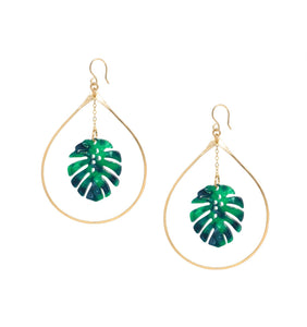 Tropical Monstera Palm Leaf gold Hoop Earrings
