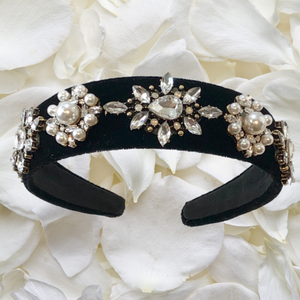 Sophie - Black, diamanté and pearl headband