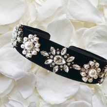 Load image into Gallery viewer, Sophie - Black, diamanté and pearl headband