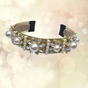 gold and pearl headhand crown