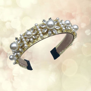 headband crown gold and pearl