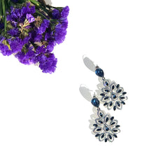 Load image into Gallery viewer, Peitha drop earrings with Sapphire and clear stone detailing