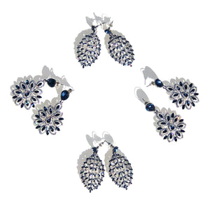 Peitha drop earrings with Sapphire and clear stone detailing