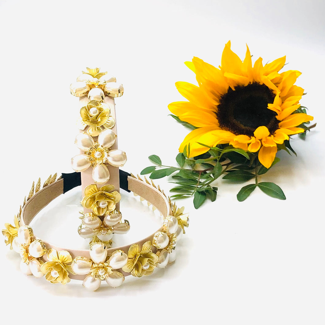 Hebe - stunning gold and cream headband
