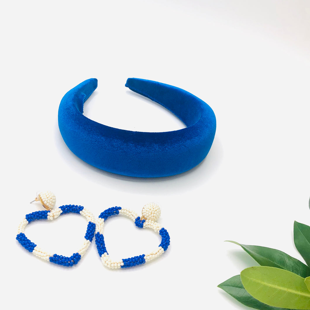 Rhea - thick velvet bright blue headband