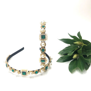 Elpis - Narrow green and gold headband