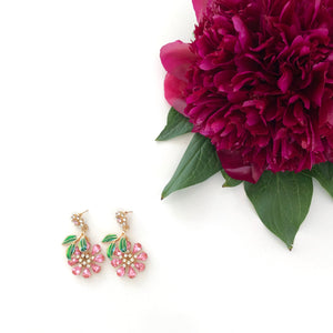 Antheia - Flower earring drops with leaf detailing