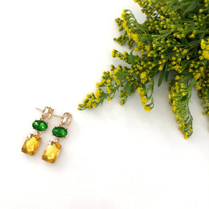 Tyche - Gold and Emerald green drop earrings