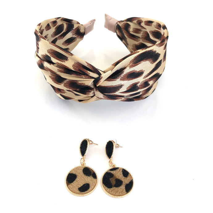Diane set - leopard print headband and earring set