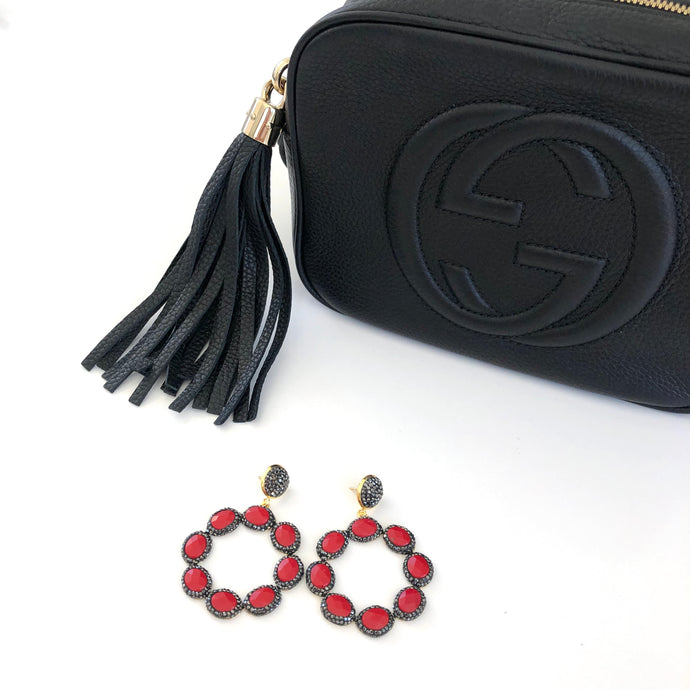 Pheme - Black and red sparkly drop earrings
