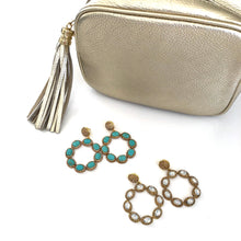Load image into Gallery viewer, Doris - Turquoise or Gold drop earrings