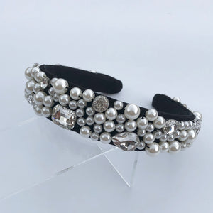 Lucy - Pearl covered velvet headband