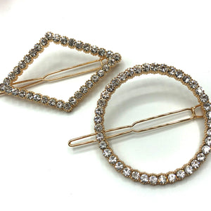 Geometric diamanté hair clips