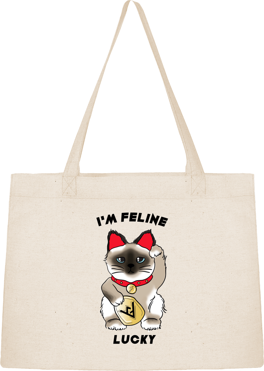 "Sac Cabas Shopping ""I'M FELINE LUCKY"""